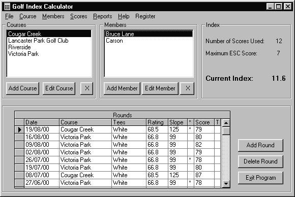 Golf Tournament Scorekeeper: Tournament Screen